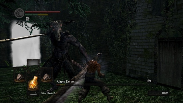 He is about to PUNCH the Capra Demon to death. With no shirt on. (Image via NeoGAF)