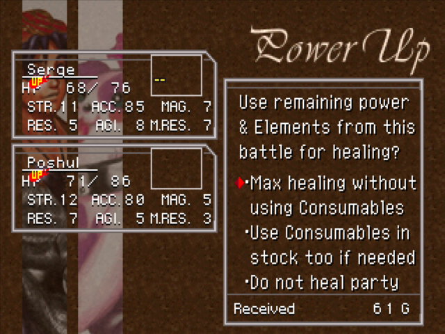 "Left side: Characters in Chrono Cross briefly earn small stat bonuses from normal encounters, but overall growth is strictly gated by boss battles. Right side: ""free"" healing with the battle resources you didn't use is one of the most player-friendly features of the game."